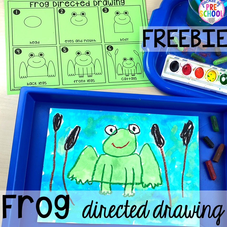 FREE frog directed drawing plsy more pond theme activities and centers for preschool, pre-k, and kindergarten. #preschool #prek #pondtheme