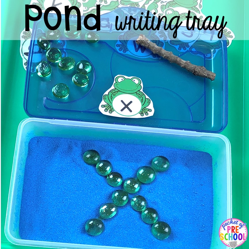 Pond writing tray in a pencil box! plus more pond theme activities and centers for preschool, pre-k, and kindergarten. #preschool #prek #pondtheme