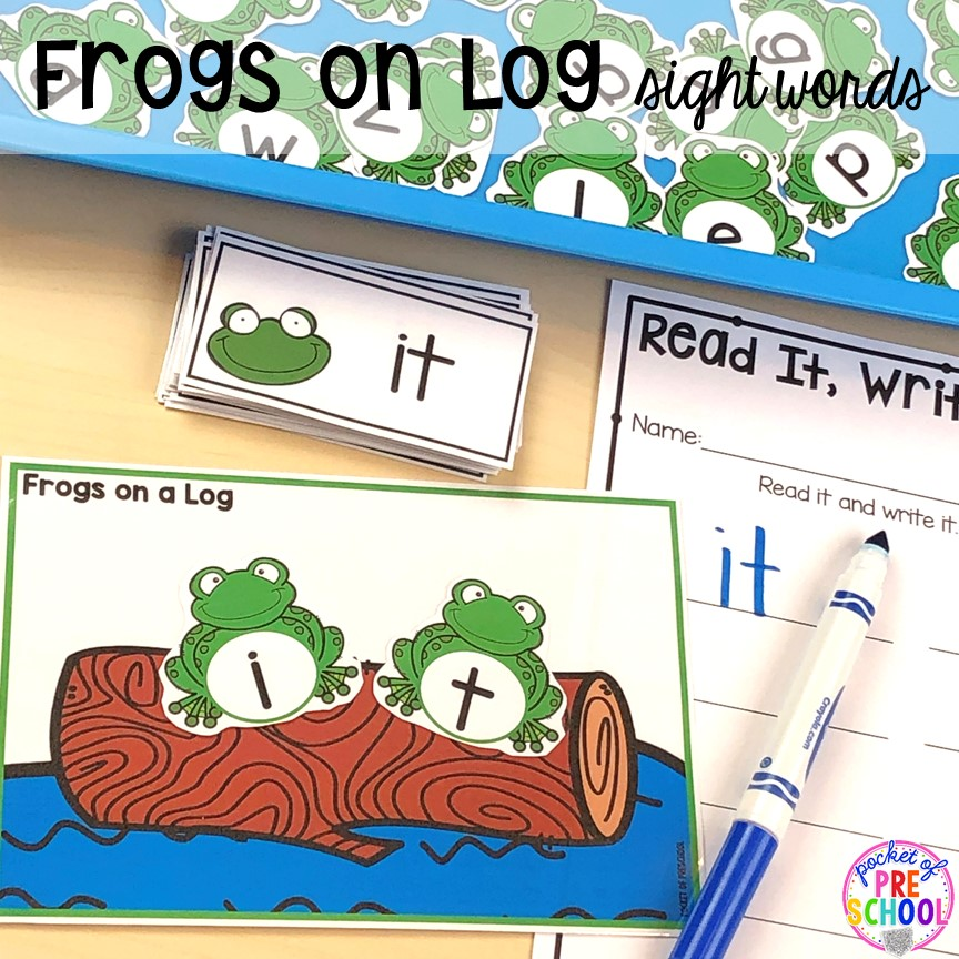 Frogs on a log sight word game. plus more pond theme activities and centers for preschool, pre-k, and kindergarten. #preschool #prek #pondtheme