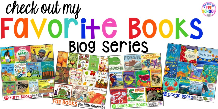 My favorite books for early childhood blog series! Over 35 book lists (and growing) by theme for preschool, pre-k, and kindergarten.