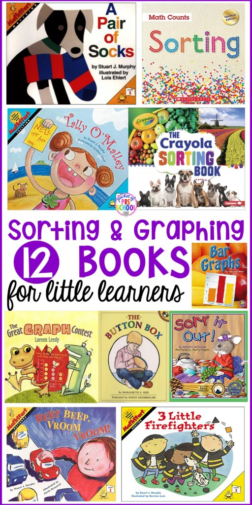 Sorting & graphing book list for preschool, pre-k, and kindergarten. Perfect for a math unit, sorting lesson, or graphing activity. # graphingactivity #booklist #mathunit #sortinglesson