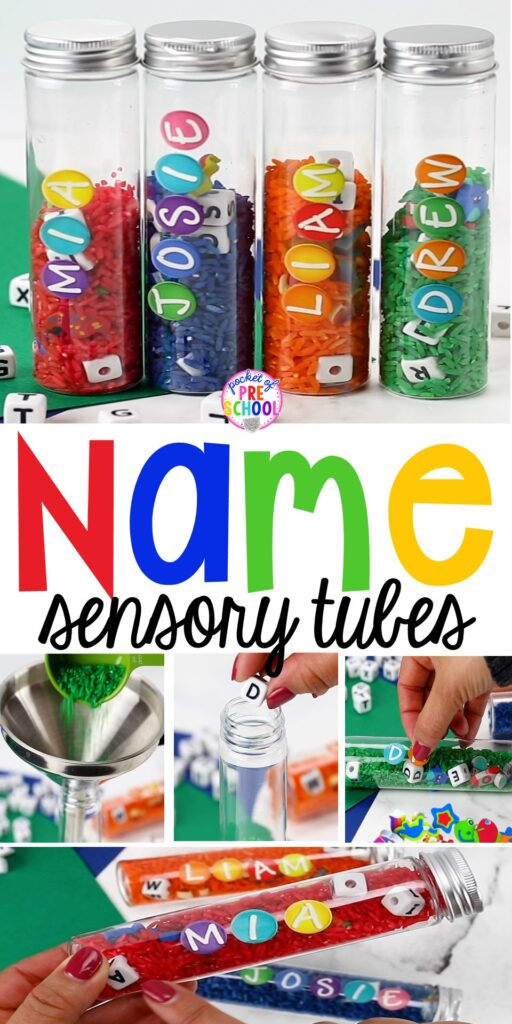 Name sensory tubes to learn the letters in their name, an easy name activity. Fun for preschool, pre-k, and kindergarten. #nameactivity #preschool #sensory