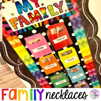 Family necklaces to help students who miss their families or have anxiety. A fun way to build a classroom community. #family #classroom #classroomdecor #preschool