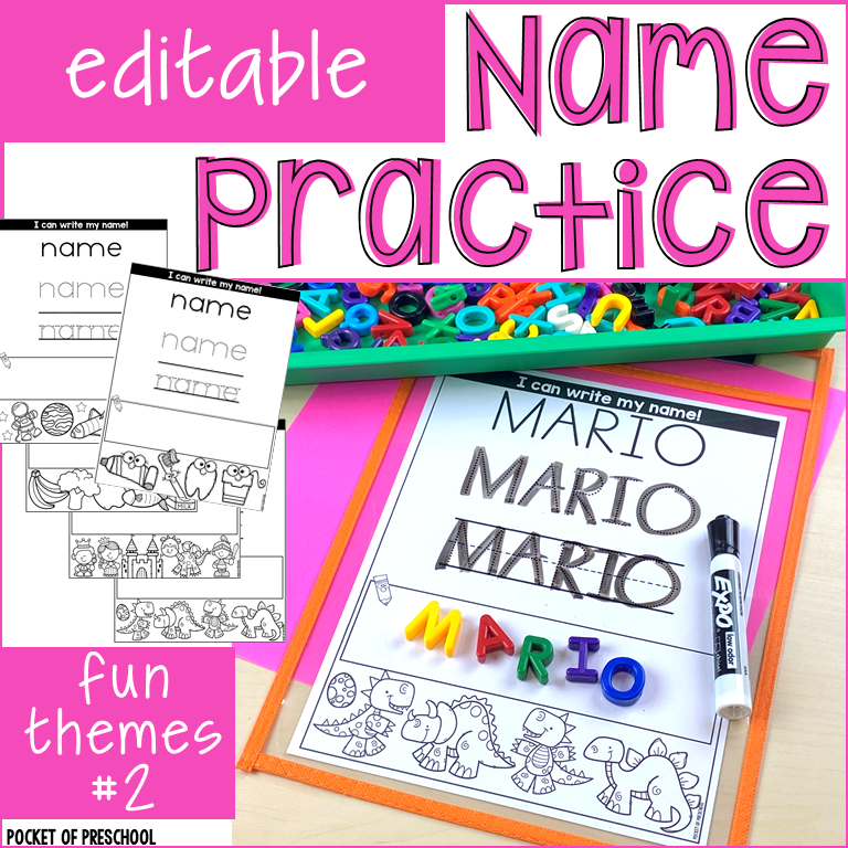 Editable name practice pages for tons of themes. Use for sign in or daily name practice.