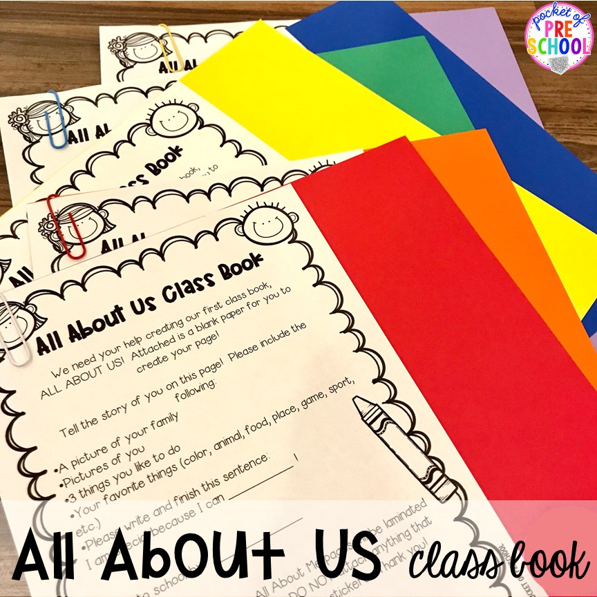 All about Us book! Open house ideas, hacks, & freebies for preschool, pre-k, and kindergarten. Plus some first day of school printables too. #preschool #prek #openhouse