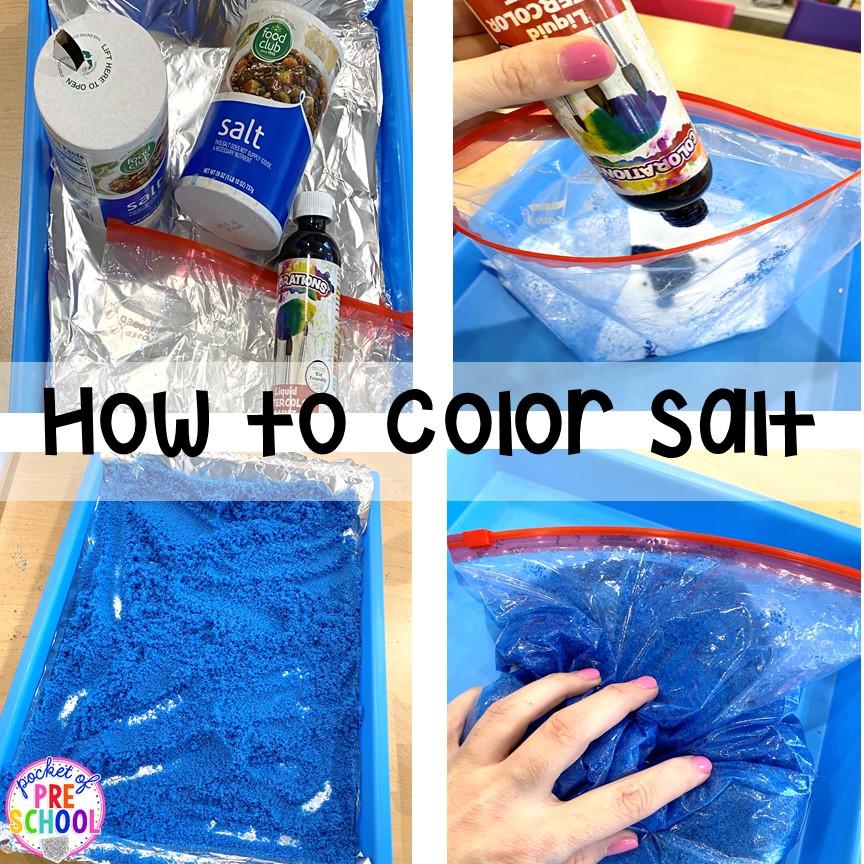 How to dye salt for sensory play, writing trays, and art activities. Fun for preschool, pre-k, and kindergarten. #sensory #sensoryplay