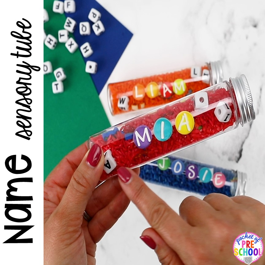 How to make name sensory tubes to learn the letters in their name, an easy name activity. Fun for preschool, pre-k, and kindergarten. #nameactivity #preschool #sensory