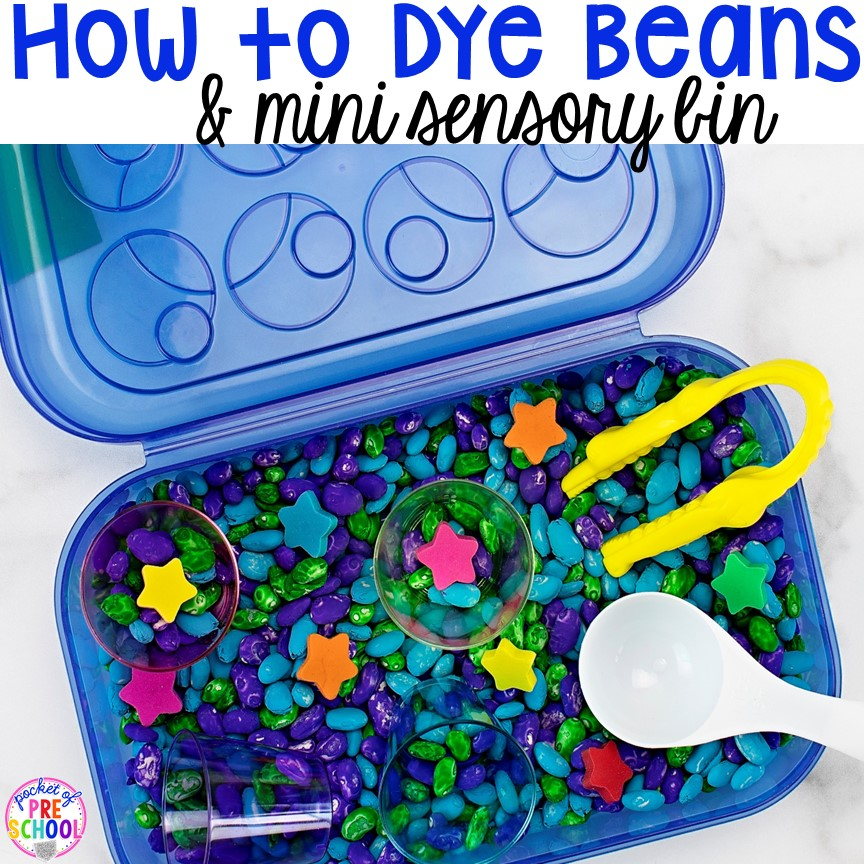 How to color beans for sensory play