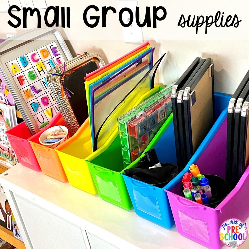 Small group supply hack plus more Lakeshore organization hacks for preschool and prek. #teacherhack #preschool #prek