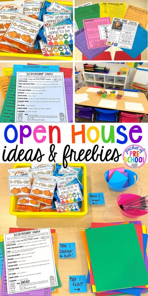 Open house ideas, hacks, & freebies for preschool, pre-k, and kindergarten. Plus some first day of school printables too. #preschool #prek #openhouse