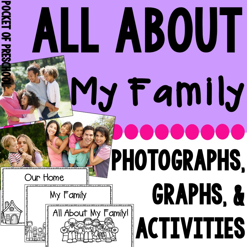 Family preschool, pre-k, and kindergarten unit to teach students about families using real photos, activities, anchor charts, and more! #familytheme #preschool #prek #socialskills