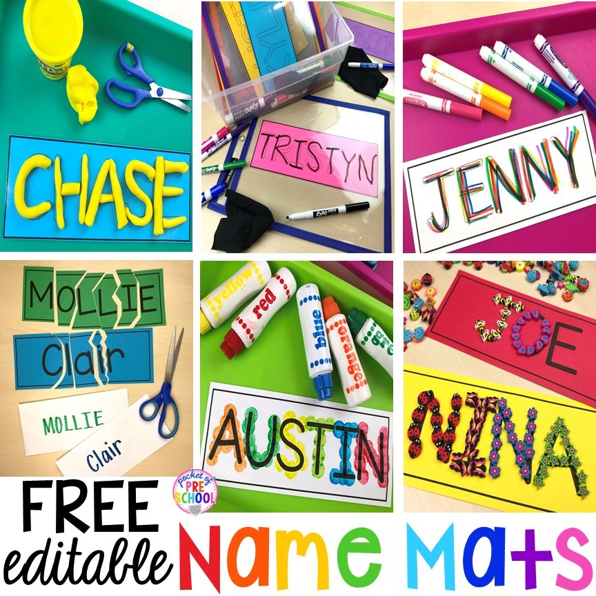 Fun name activities using FREE name mats. Make, build, trace, sculpt, or dot names to practice writing letters and identifying letters.
