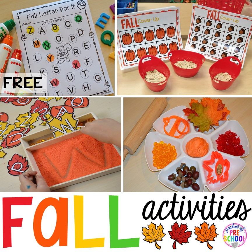 Fall themed math, literacy, fine motor, and sensory activities for little learners.