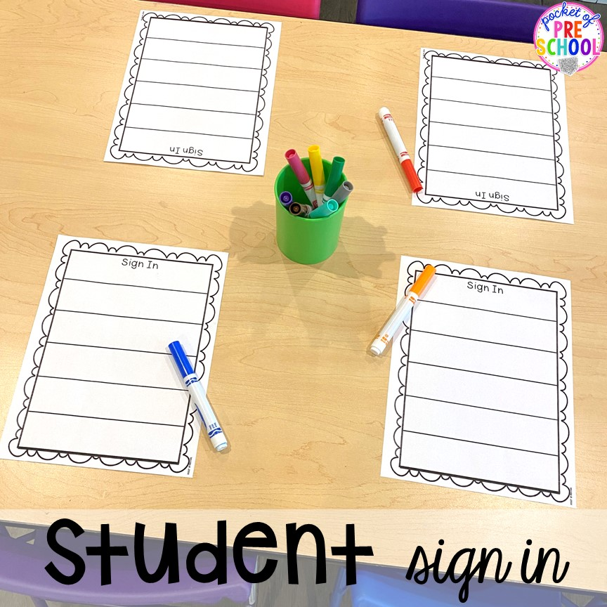 Student sign in at open house! Open house ideas, hacks, & freebies for preschool, pre-k, and kindergarten. Plus some first day of school printables too. #preschool #prek #openhouse