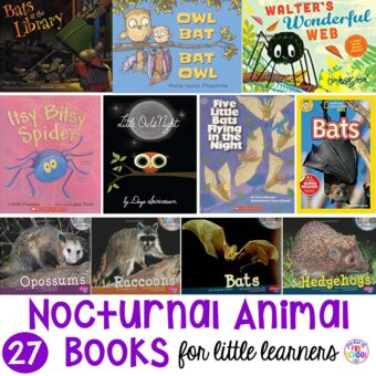 Nocturnal Animals book list for preschool, pre-k, and kindergarten. Perfect for an animal theme or science unit. #animaltheme #booklist #scienceunit #childrensbooklist