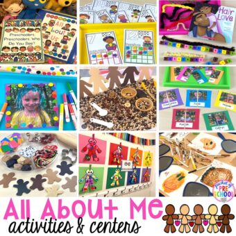 All about me activities for back to school or anytime during the year. Perfect for preschool, pre-k, or kindergarten. #allaboutme #diversity #backtoschool