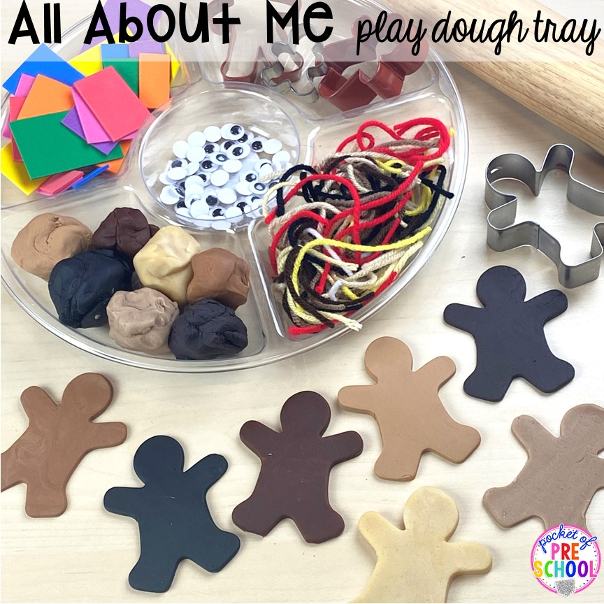All about me play dough tray with skin tone dough plus tons of All about me activities for back to school. Perfect for preschool, pre-k, or kindergarten. #allaboutme #diversity #backtoschool