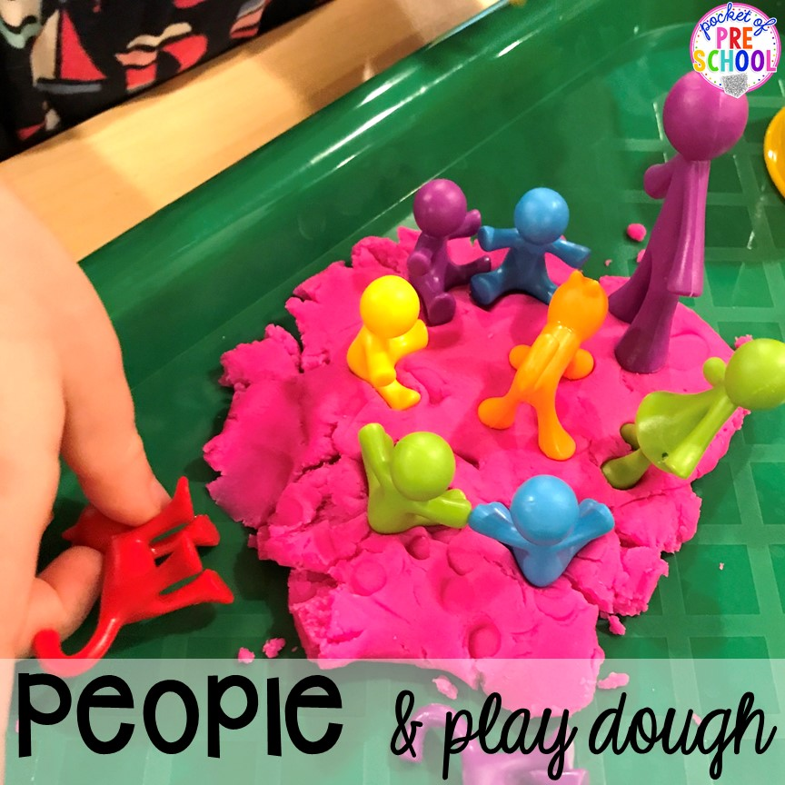 People and play dough plus All about me activities for back to school. Perfect for preschool, pre-k, or kindergarten. #allaboutme #diversity #backtoschool