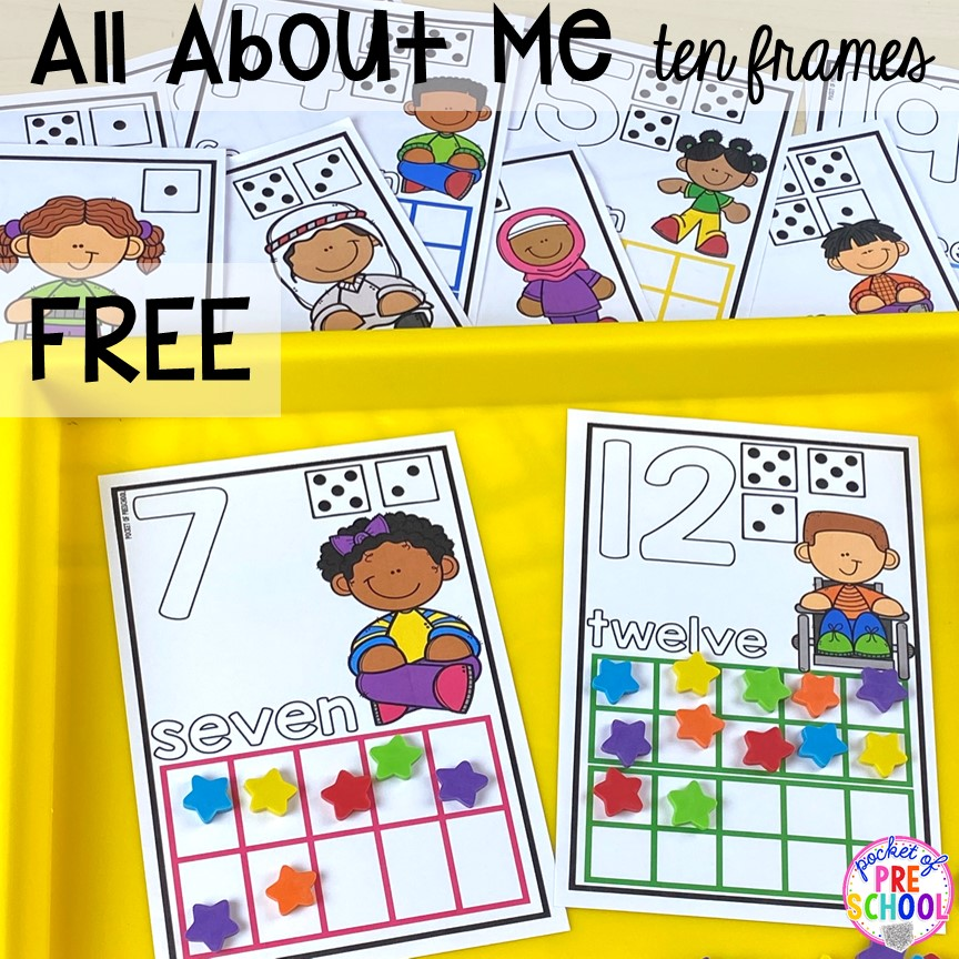 FREE all about me ten frame math mats plus tons of all about me activities for back to school. Perfect for preschool, pre-k, or kindergarten. #allaboutme #diversity #backtoschool