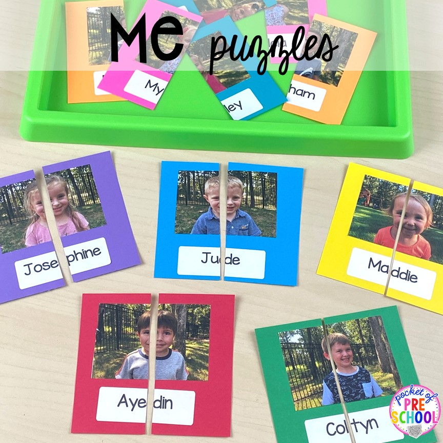 Me puzzles plus tons of all about me activities for back to school. Perfect for preschool, pre-k, or kindergarten. #allaboutme #diversity #backtoschool