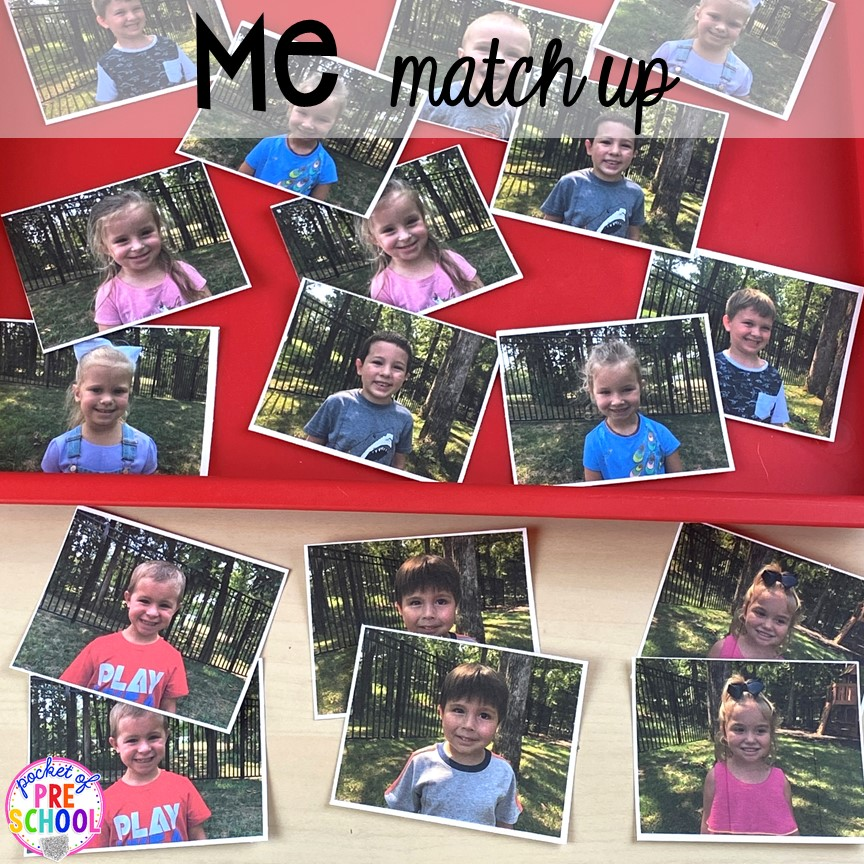 Me match up or friend memory game plus tons of all about me activities for back to school. Perfect for preschool, pre-k, or kindergarten. #allaboutme #diversity #backtoschool