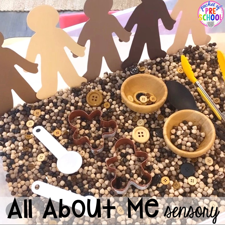 All about me sensory table! All about me activities for back to school or anytime during the year. Perfect for preschool, pre-k, or kindergarten. #allaboutme #diversity #backtoschool