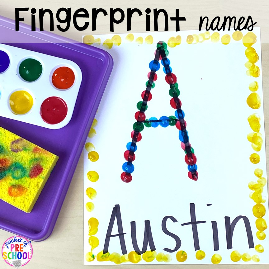 Fingerprint names or letters plus tons of all about me activities for back to school. Perfect for preschool, pre-k, or kindergarten. #allaboutme #diversity #backtoschool