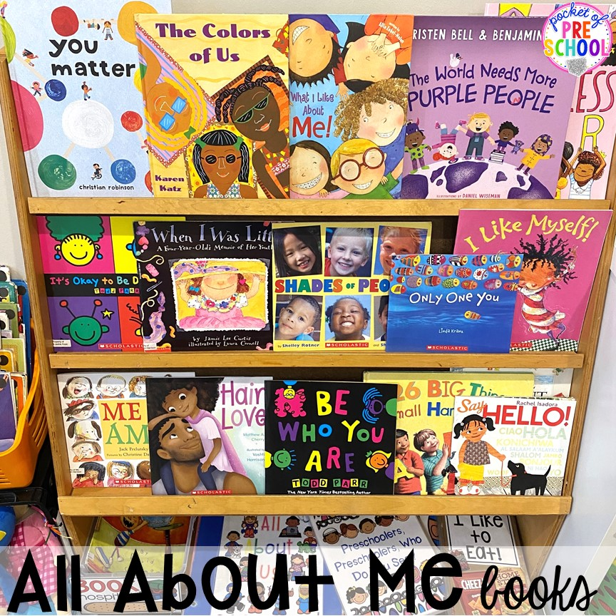 All about me theme books! All about me activities for back to school. Perfect for preschool, pre-k, or kindergarten. #allaboutme #diversity #backtoschool