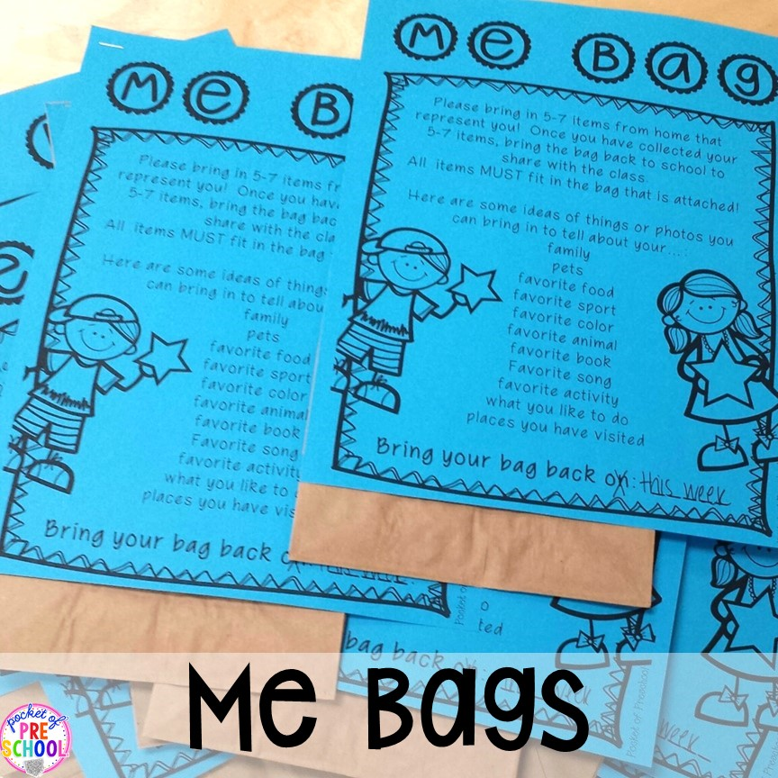 Me bags to help students get to know each other plusAll about me activities for back to school. Perfect for preschool, pre-k, or kindergarten. #allaboutme #diversity #backtoschool