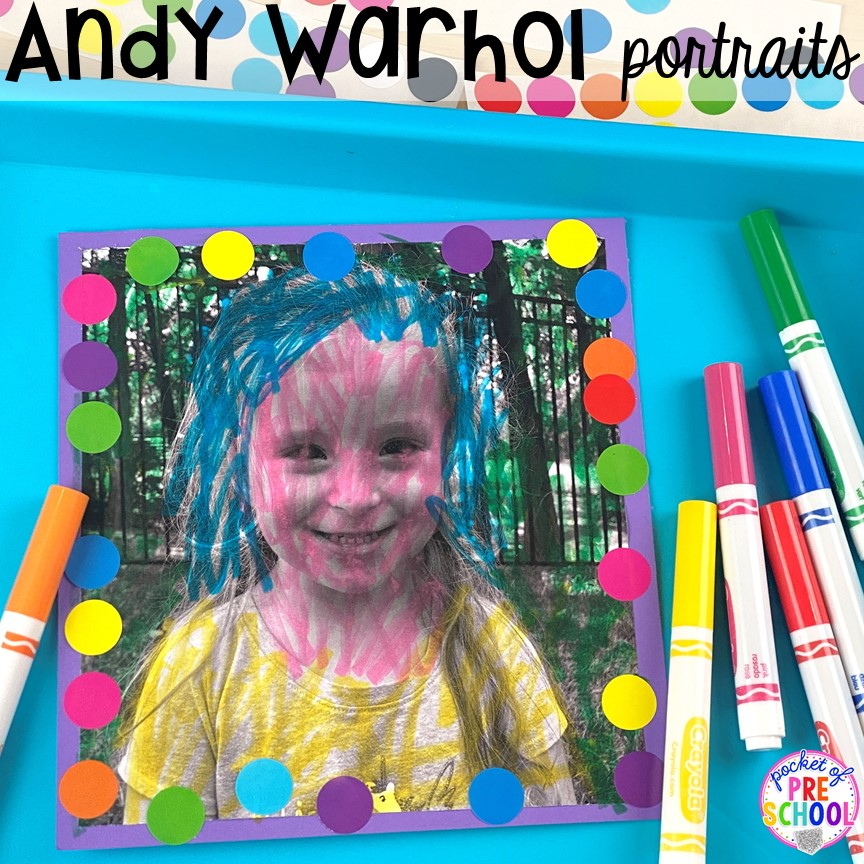 Andy Warhol self-portraits plus tons of all about me activities for back to school. Perfect for preschool, pre-k, or kindergarten. #allaboutme #diversity #backtoschool