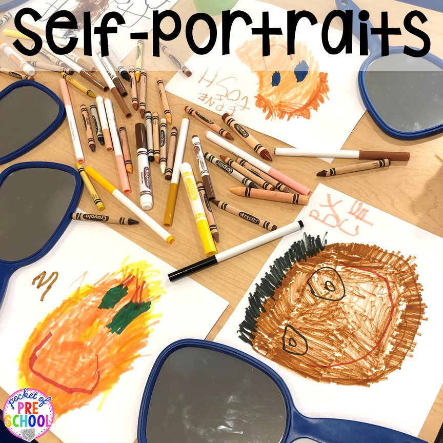 Self-portraits plus tons of All about me activities for back to school. Perfect for preschool, pre-k, or kindergarten. #allaboutme #diversity #backtoschool