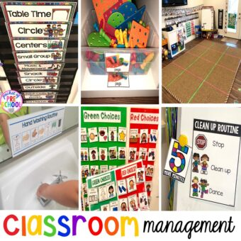 Classroom management tips for preschool, pre-k, and kindergarten. How to set up systems, the classroom environment, and plan. #classroommanagement #preschool #prek #kindergarten