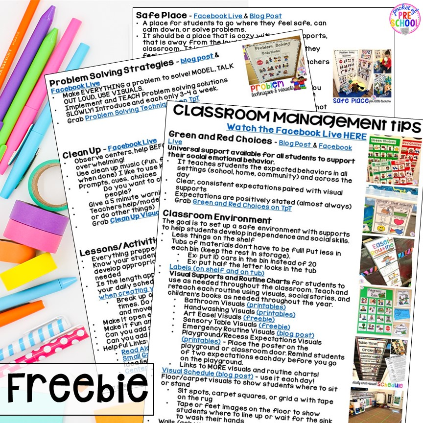 FREE Classroom Management Tips and Tricks for preschool, pre-k, and kindergarten.