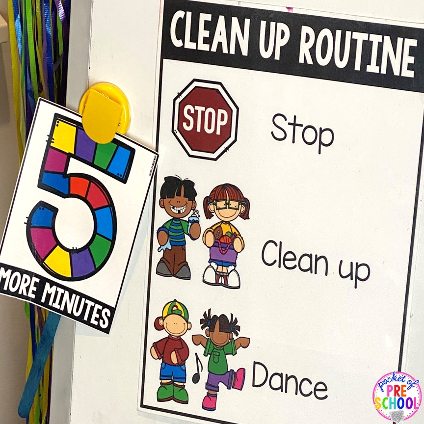 Clean up time tips plus more classroom management tips for preschool, pre-k, and kindergarten. #classroommanagement #preschool #prek #kindergarten