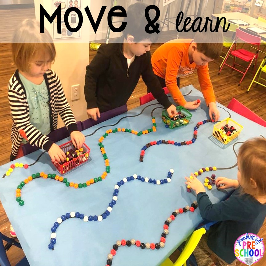Add movement to the activity plus more classroom management tips for preschool, pre-k, and kindergarten. #classroommanagement #preschool #prek #kindergarten