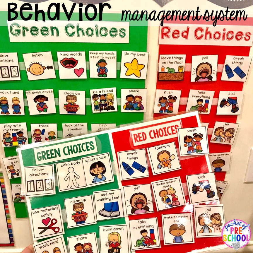 Green and Choices behavior management system plus more classroom management tips for preschool, pre-k, and kindergarten. #classroommanagement #preschool #prek #kindergarten