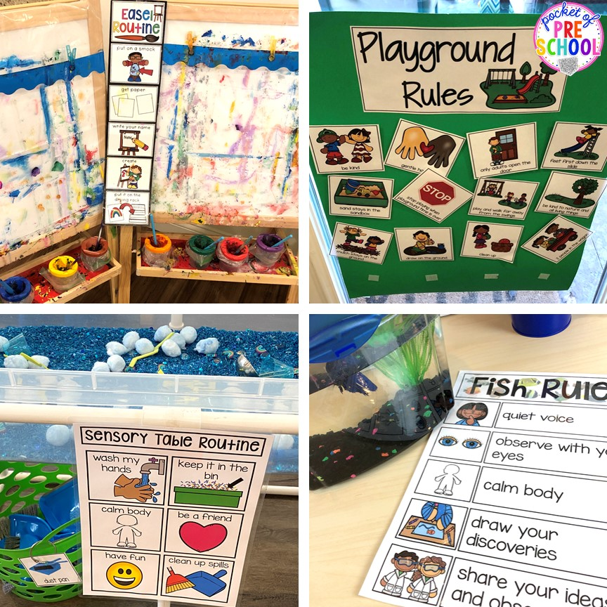 Example classroom visual routines plus more classroom management tips for preschool, pre-k, and kindergarten. #classroommanagement #preschool #prek #kindergarten