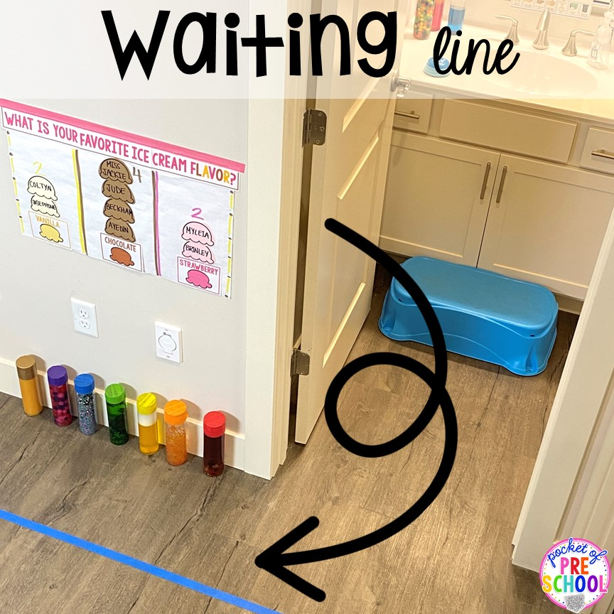 Waiting line to wash hands plus more classroom management tips for preschool, pre-k, and kindergarten. #classroommanagement #preschool #prek #kindergarten