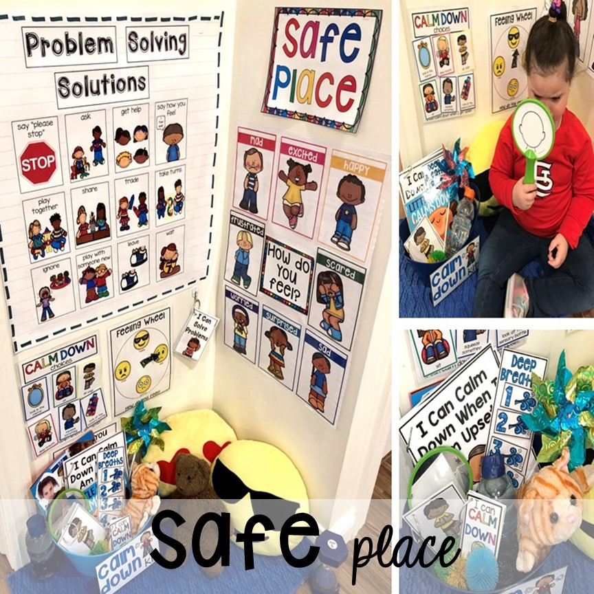 Set up a safe place or cozy corner plus more classroom management tips for preschool, pre-k, and kindergarten. #classroommanagement #preschool #prek #kindergarten